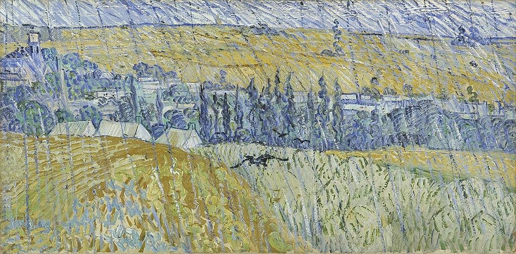 """Auvers in the rain"" (1890), oeuvre de Vincent van Gogh au National Museum Cardiff."