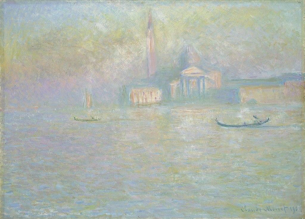 """""""San Giorgio Maggiore"""" (1908), oeuvre de Monet au National Museum Cardiff."""