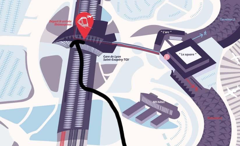 Suivez la flèche pour rejoindre la navette depuis le Terminal 3. Cela marche aussi dans l'autres sens. Image utilisée Aéroport de Lyon.
