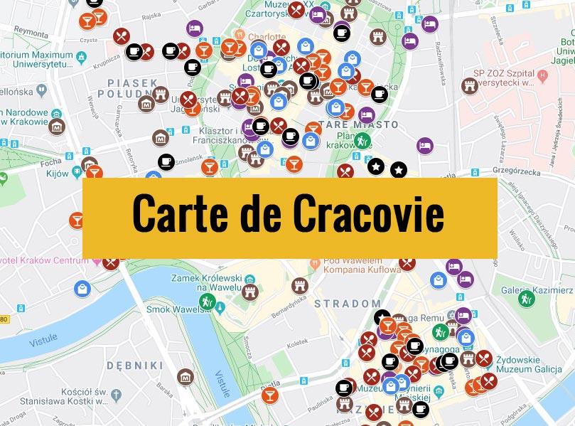 Carte de Cracovie (Pologne) avec tous les lieux du guide touristique.