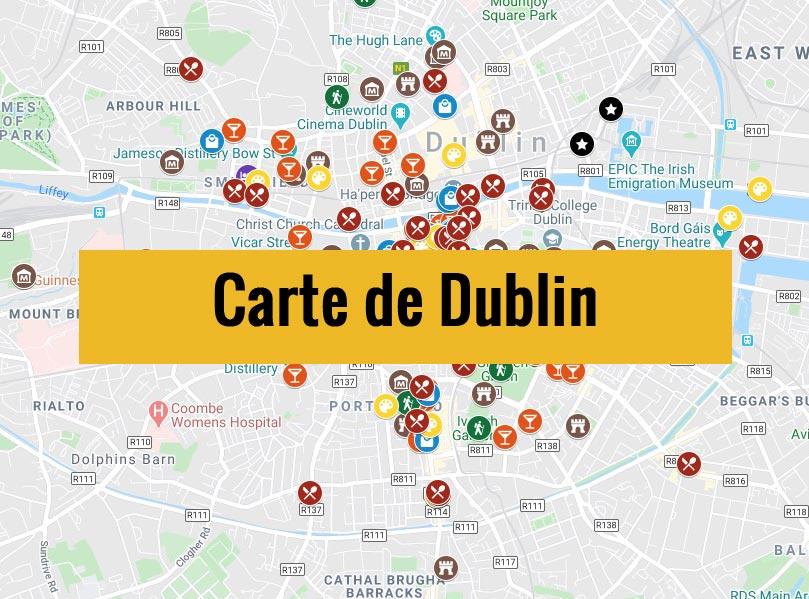 Carte de Dublin (Irlande) avec tous les lieux du guide touristique.