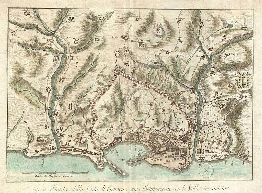 Carte détaillée de Gênes en 1800