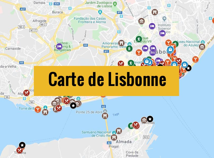 Carte détaillée des lieux sympas à Lisbonne