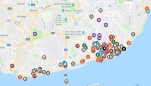 Carte de Lisbonne : Plan détaillé de lieux sympas