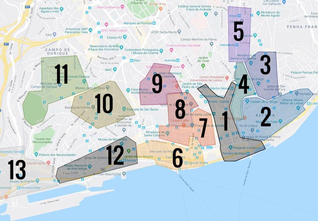 Carte des quartiers de Lisbonne : 1. Baixa 2. Alfama 3. Graça 4. Mouraria 5. Intendente 6. Cais do Sodré 7. Chiado 8. Bairro Alto 9. Principe Real 10. Estrela 11. Ourique 12. Santos 13. Alcantara