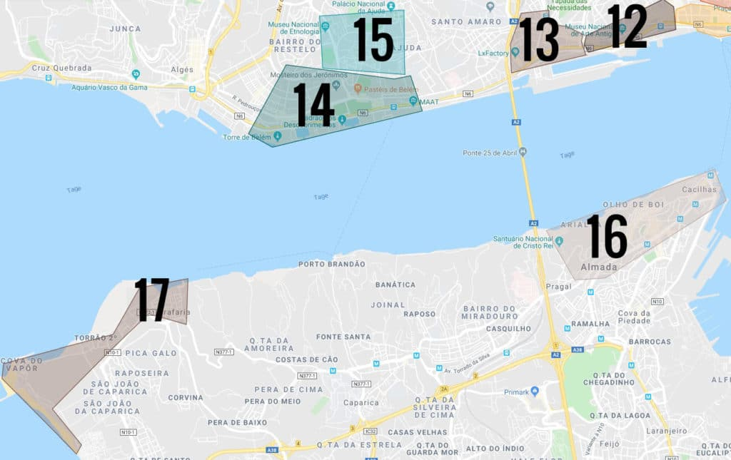 > Carte des quartiers de Lisbonne avec la ville d'Almada (16).