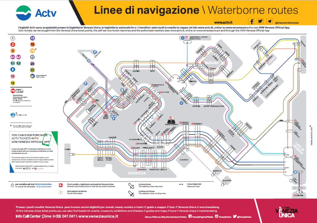 Carte de transport en vaporetto à Venise.