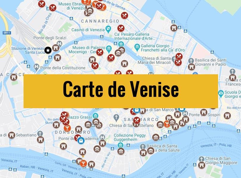 Carte de Venise (Italie) : Plan détaillé gratuit et en français à télécharger