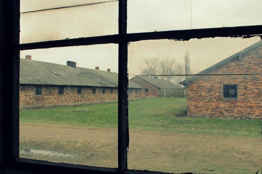 > Dans le camp nazi d'extermination d'Auschwitz en Pologne.
