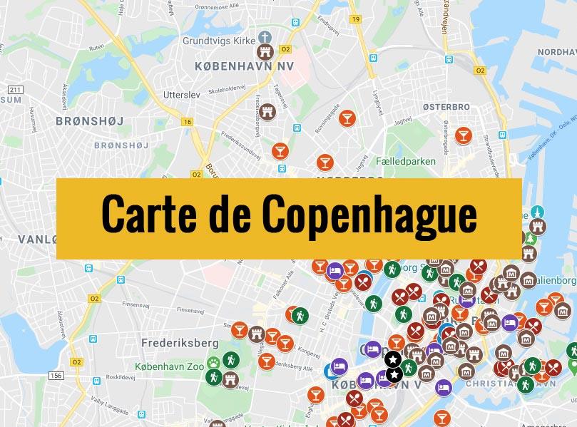 Carte de Copenhague (Danemark) avec tous les lieux du guide touristique.