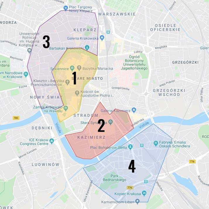 Carte des quartiers de Cracovie en Pologne : 1. Stare Miasto : Centre historique et touristique de Cracovie 2. Kazimierz, l'ancien quartier juif 3. Centre-ouest de Cracovie 4. Quartier de Podgorze, terrain de l'ancien ghetto