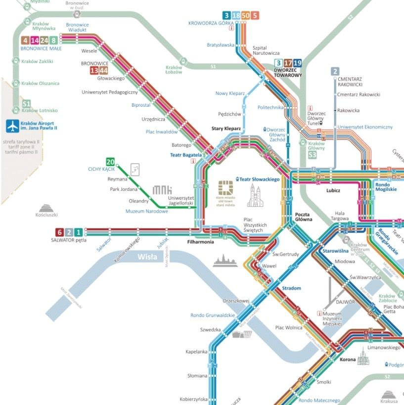 Extrait de la carte du réseau de tramway de Cracovie.