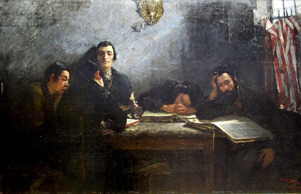 """""""Ecole des talmudistes"""" de Samuel Hirszenberg au Musée National de Sukiennice à Cracovie."""