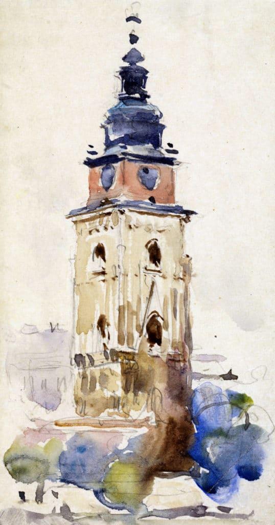 Illustration de l'Hotel de ville ou Ratusz sur le Rynek de Cracovie.