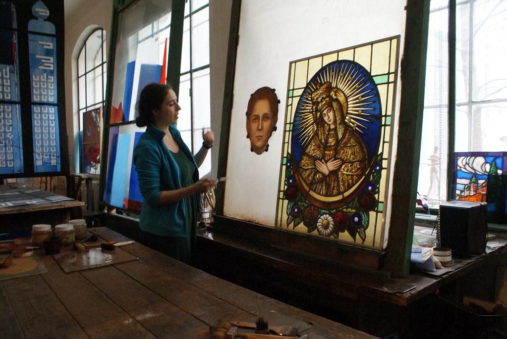 Dans l'atelier du musée des vitraux de Cracovie.