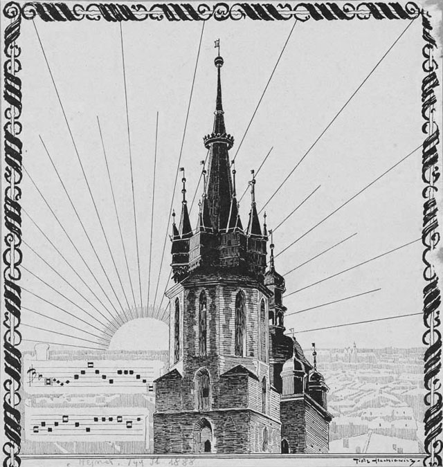 Basilique Notre Dame de Cracovie (Kosciol Mariacki) et les notes jouées à la trompette.