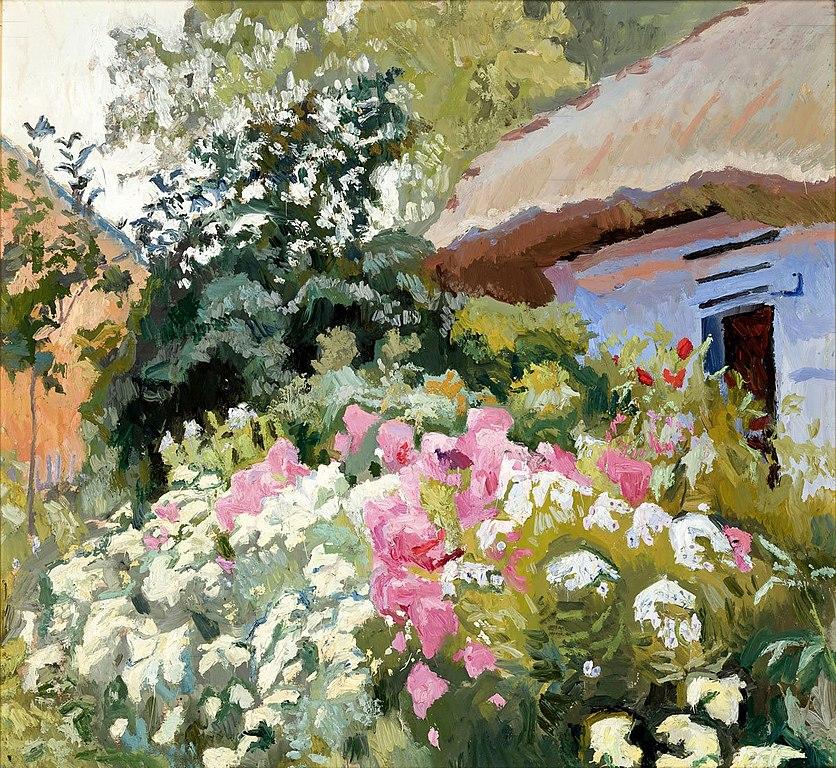 """""""Fleurs devant la chaumière"""" (1905) de Stanislaw Kamocki dans le Musée National de Cracovie."""