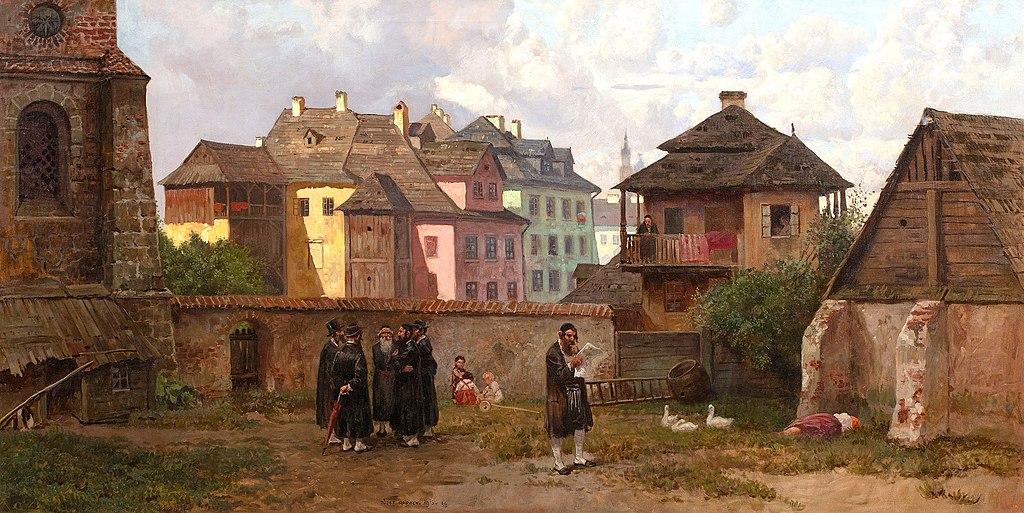 Dans le quartier de Kazimierz à Cracovie en 1916 - Toile de Józef Rapacki
