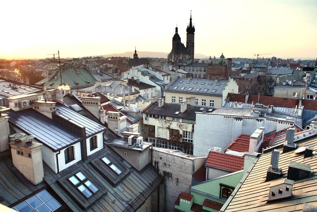 Vue sur la Vieille Ville de Cracovie depuis le café de l'Académie de musique.