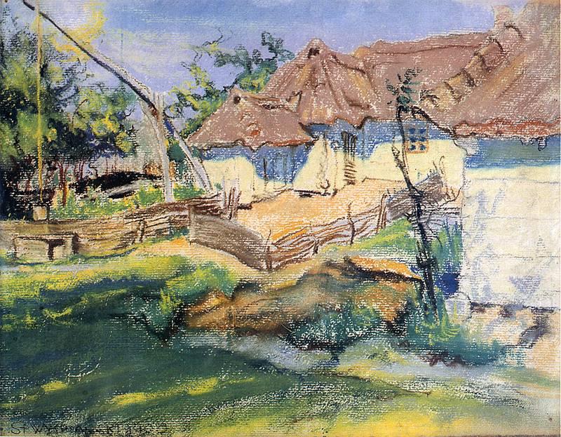 Maisons paysannes à Grebow par Wyspianski (1900).