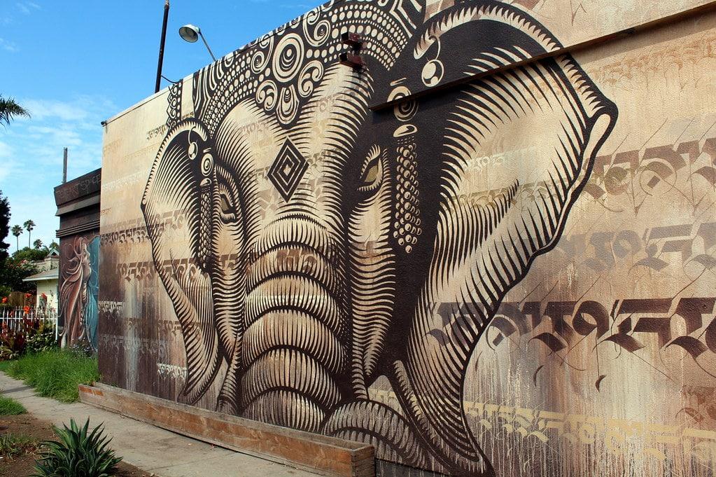 Street art à Venice Beach : Lord Ganesha de Cryptik - Photo de Wally Gobetz