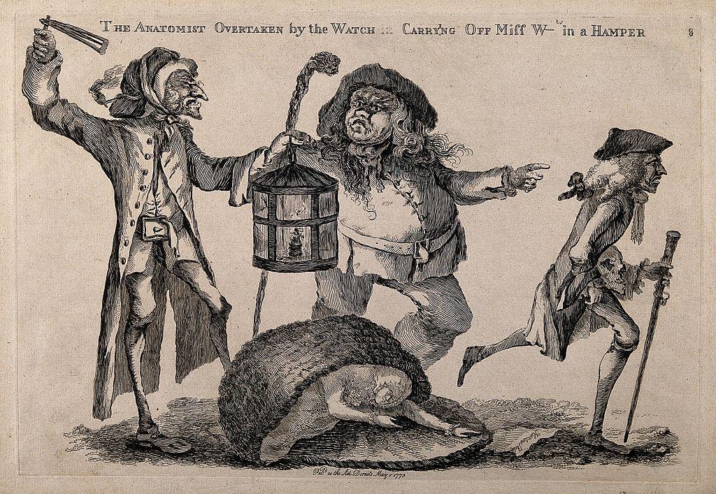 Illustration d'un veilleur mettant la main sur un voleur de cadavre et son commanditaire médecin prenant la fuite.
