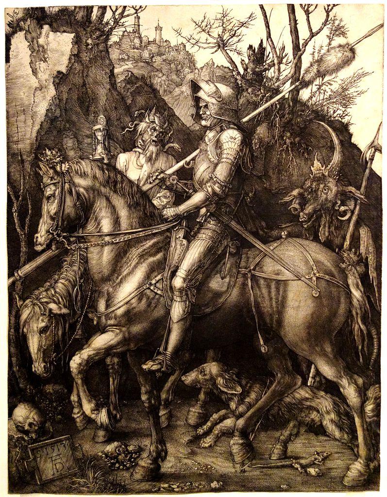 Dessin de Durer dans le musée Chester Beatty de Dublin : Le chevalier, la mort et le diable.