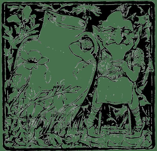 Illustration d'un Leprechaun ou d'un Clurichaun, deux figures légendaires irlandaises.