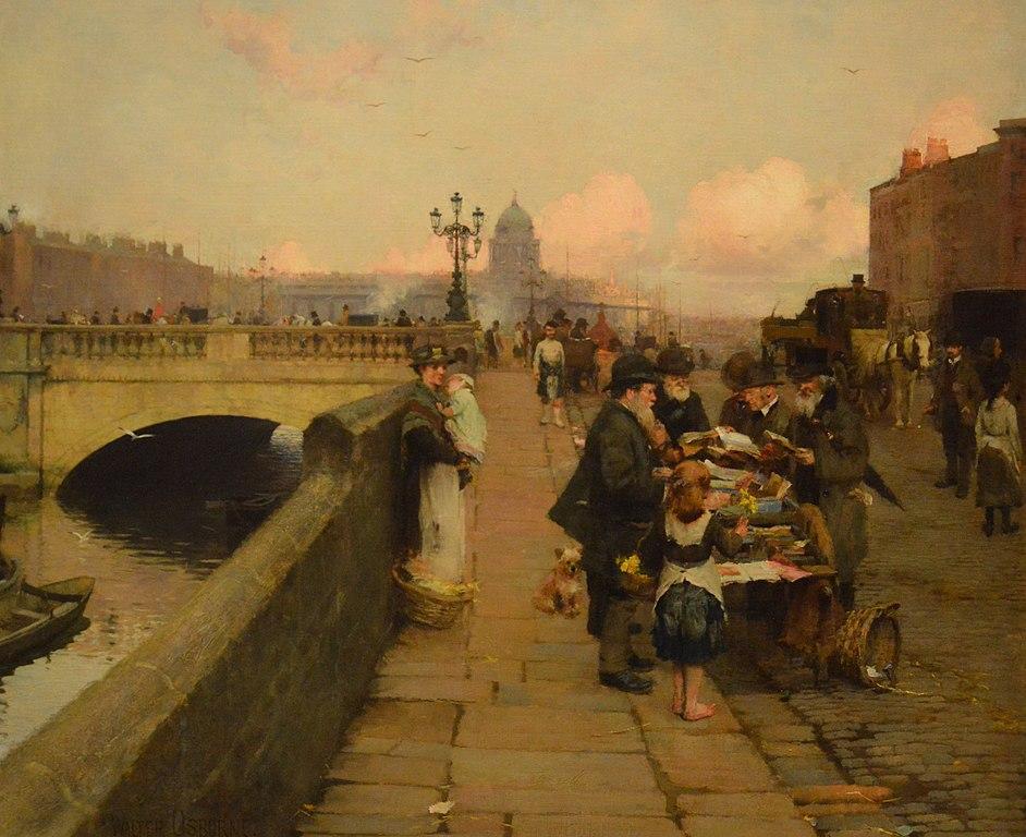 "Peinture de Walter Frederick Osborne : ""The Dublin Streets a vendor of Books (1889) National Gallery of Ireland à Dublin"