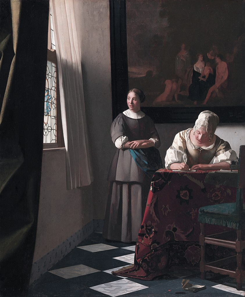 """""""Woman writing a letter with her maid"""" tableau de Johannes Vermeer au musée National Gallery of Ireland à Dublin"""