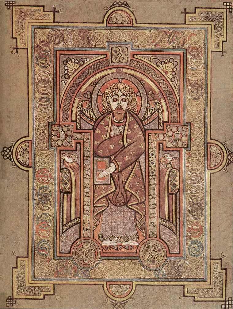 Book of Kells dans la bibliothèque du Trinity College à Dublin.