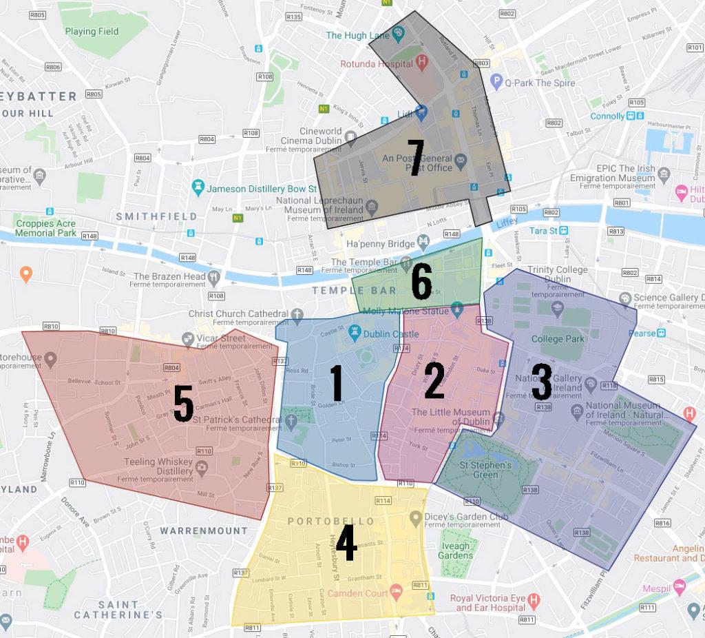 Carte des quartiers de Dublin : 1. Vieille ville de Dublin 2. Centre de Dublin 3. Beaux quartier georgiens 4. Quartier alternatif de Portobello 5. Quartier populaire de Liberties 6. Temple bar : Rues de la soif 7. Quartier d'O'Connell.