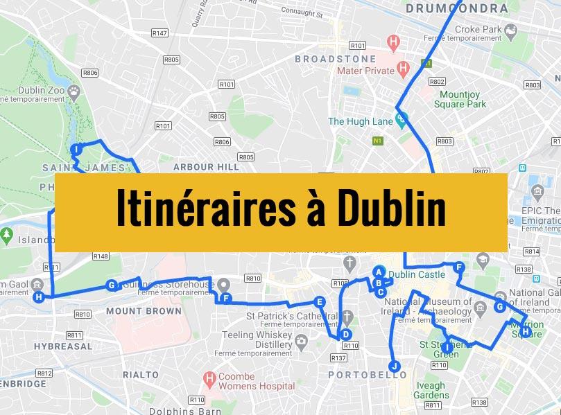 Itinéraires détaillés pour visiter Dublin (Irlande) en 2, 3 jours ou plus.
