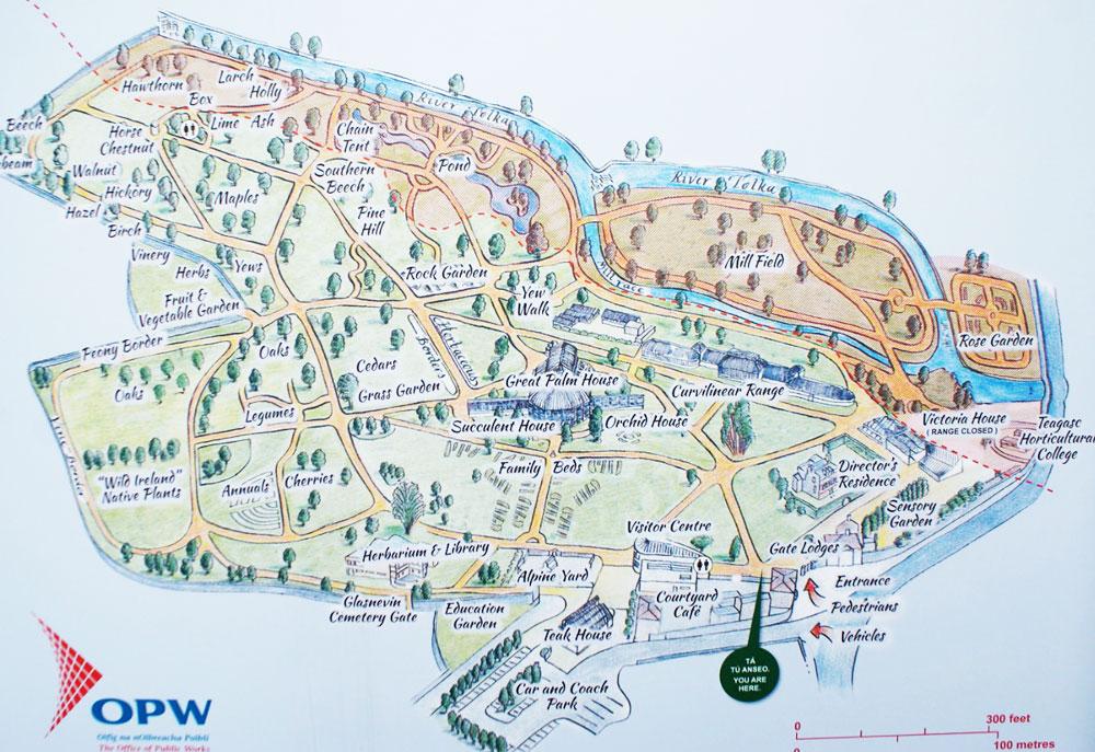 Plan du jardin botanique de Dublin.