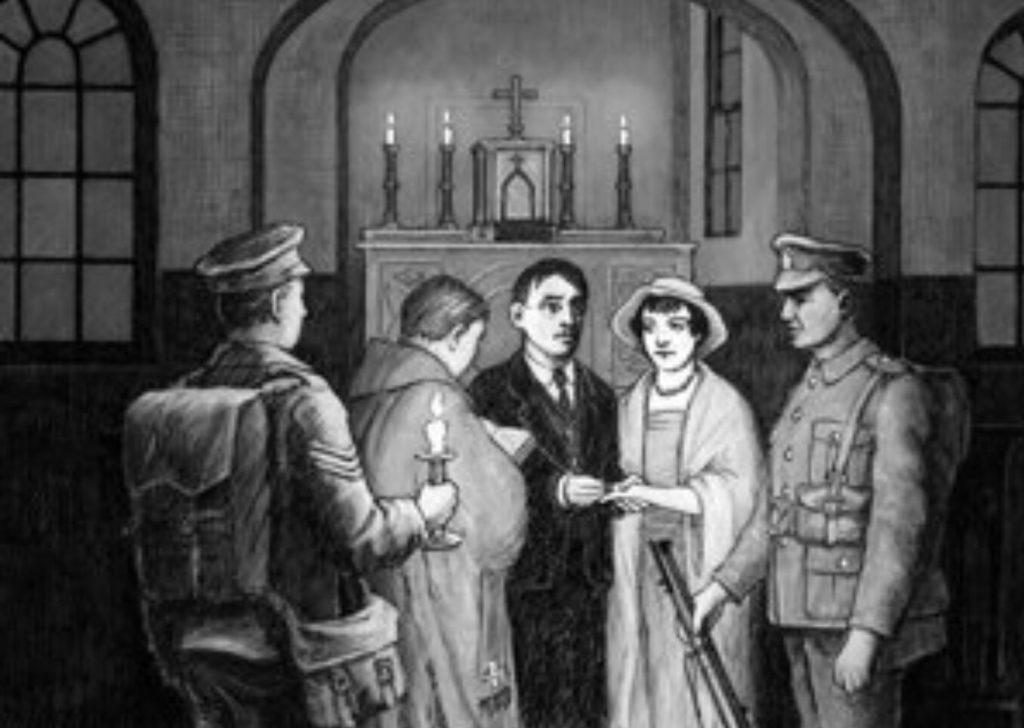 Illustration du mariage entre Joseph Plunkett et Grace Gifford dans la prison de Dublin.