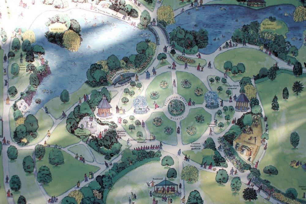 Plan de Jardin Stephen's Green à Dublin.