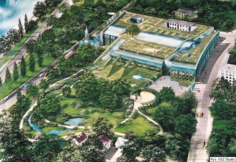 Jardin sur les toits de la bibliothèque de l'Université de Varsovie.
