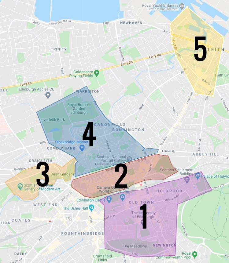Carte des quartiers d'Edimbourg : 1. Old Town, le centre historique 2. New Town, la nouvelle ville élégante 3. Dean Village, le coin bucolique 4. Stockbridge, quartier résidentiel chic 5. Leith, l'ancien port ouvrier