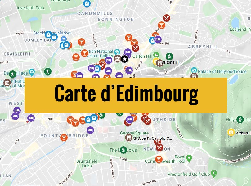 Carte d'Edimbourg (Ecosse) avec tous les lieux du guide touristique.