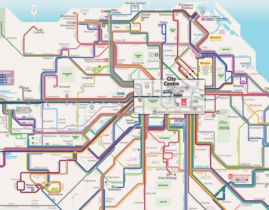 Réseau de bus à Edimbourg : Partie centrale.