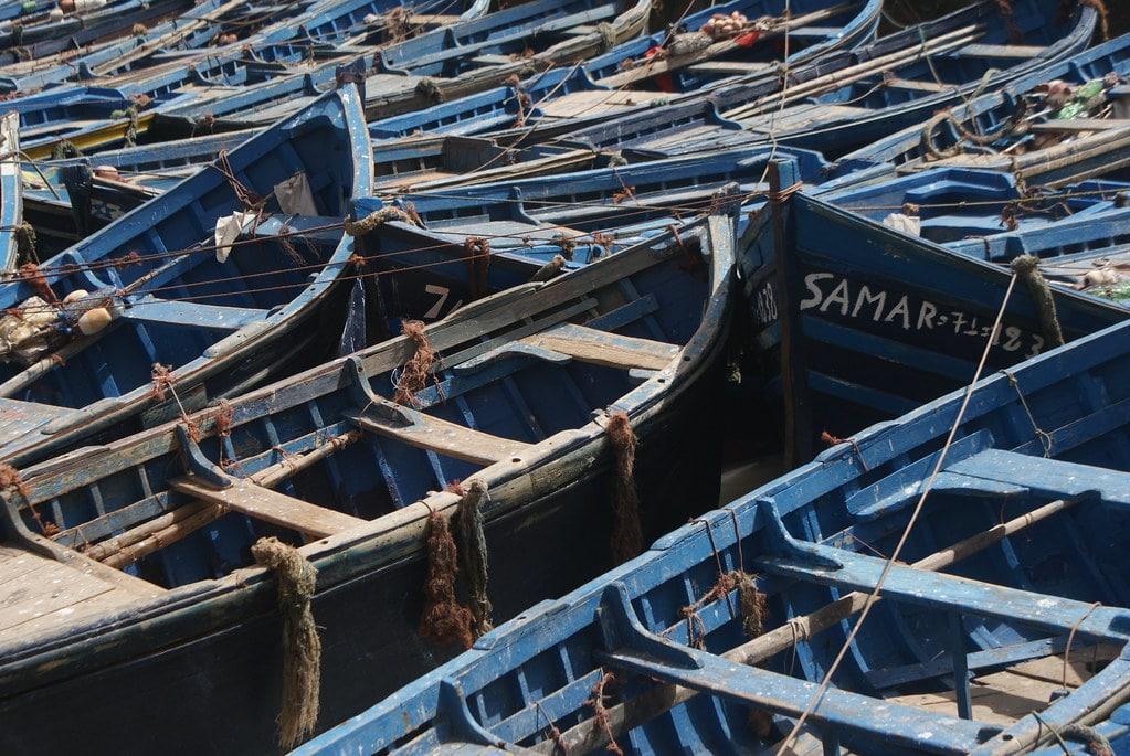Bateaux de pêche bleus dans le port d'Essaouira.