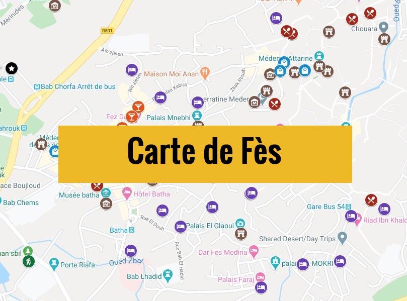 Carte de Fès (Maroc) avec tous les lieux du guide touristique.