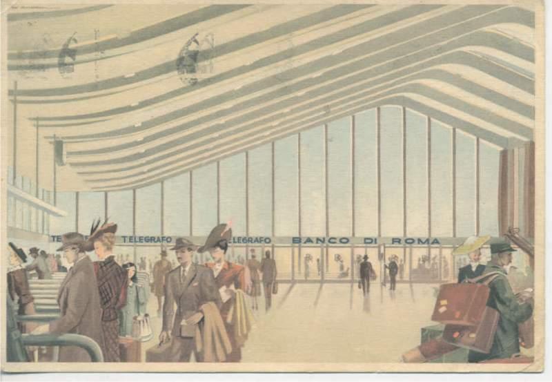 > Gare de Rome Termini sur une carte postale des années 50.