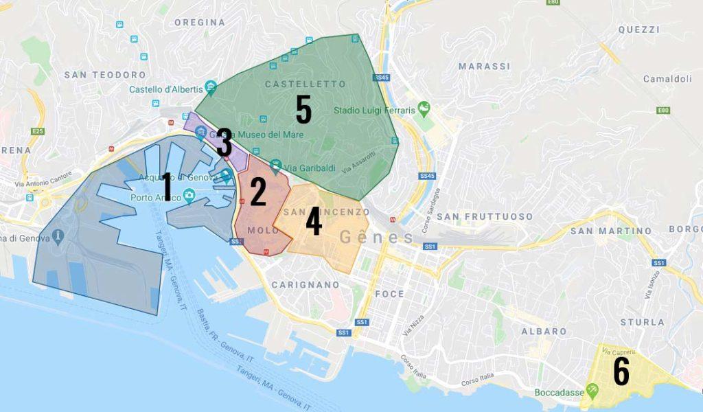 Carte des quartiers de Gênes en Italie : 1. Le port de Gênes, 2. La Vieille Ville de Gênes. 3. Le quartier du Pré 4. Le quartier de San Vincenzo. 5. Le quartier de Casteletto. 6. Le quartier de Boccadasse. En dehors de la carte à l'ouest : Nervi.
