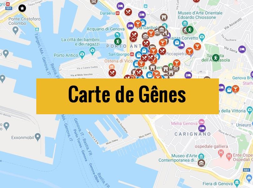 Carte de Gênes en Italie avec tous les lieux du guide