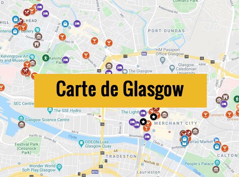 Carte de Glasgow (Ecosse) avec tous les lieux du guide touristique.