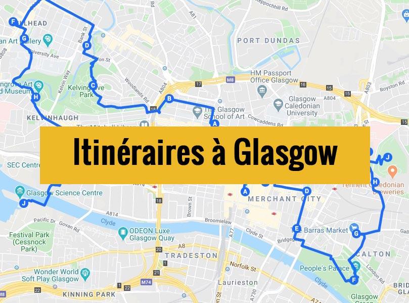 Itinéraires détaillés pour visiter Glasgow (Ecosse) en 2, 3 jours ou plus.