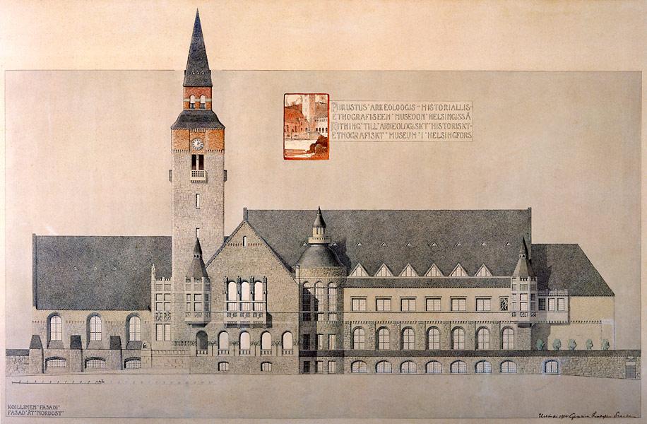 Dessin d'architecte de Herman Gesellius du Musée National de Finlande à Helsinki
