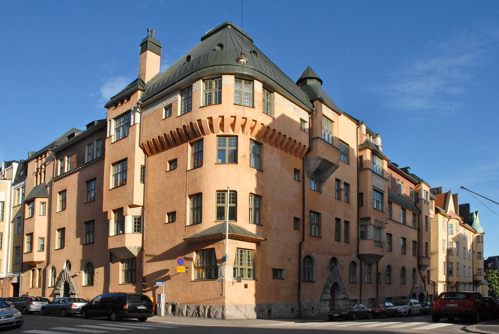 Architecture de style Art Nouveau à Helsinki dans le quartier de Katajanokka. Photo de Dalbéra