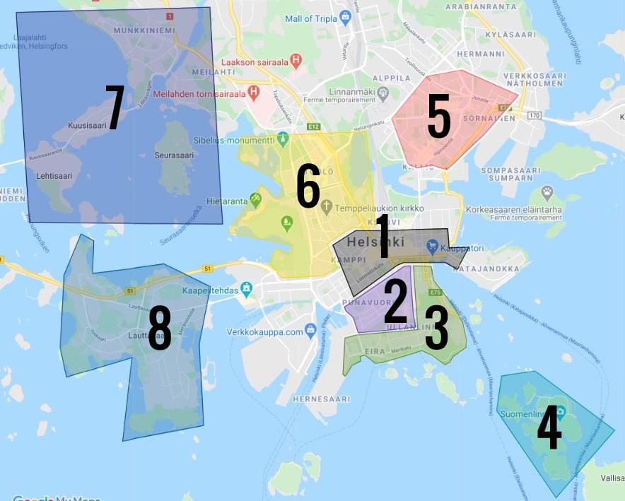 Carte des quartiers d'Helsinki : 1. Centre 2. Quartier du design 3. Helsinki sud 4. Îles forteresse de Suomenlinna 5. Quartier étudiant de Kallio 6. Quartier de Toolo 7. Quartier de l'ouest 8. Île de Lauttasaari
